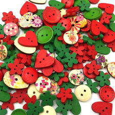 15mm Mix Red Shapes Sewing Craft 2 Holes Wooden Buttons Scrapbooking Decor WB486
