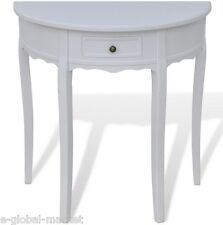 Wooden Half Moon Round Hall Table Side Console Shabby Chic Hallway Drawer White