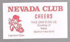 NEVADA CLUB CASINO RENO, NEVADA KENO CHEERS FREE DRINK CARD GREAT FOR COLLECTION