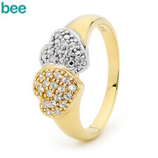 New Classic Simulated Diamond 9k 9ct Solid Yellow Gold Cluster Rings 25454/*