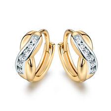 Elegant Ladies 18K Gold Platinum Filled Crystal Sapphire Hoop Earrings Wedding