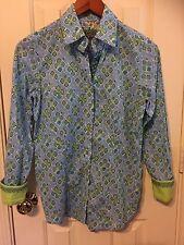 *CHIC*  ROBERT GRAHAM blue & green geometric print shirt blouse women's  sz S