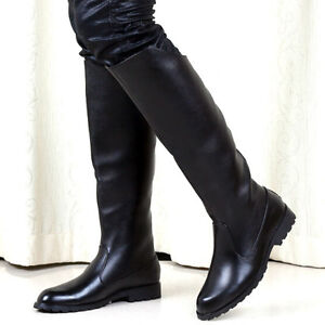 Men's Patent Leather Pointy Toe Back Zipper Knee High Ridding Boots Combat Shoes