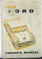 1958 Ford Custom & 300 Fairlane & 500 Wagon Courier Ranchero Owners Manual Orig