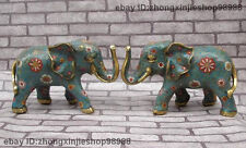 Chinese  Pure Bronze Cloisonne Enamel Royal Feng Shui Elephant statue Pair