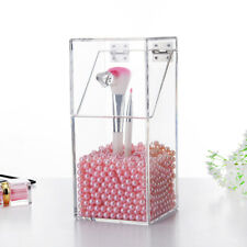 Fashion Pearls Transparent Makeup Brush Holder Organizer Cosmetic Storage Box