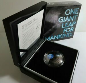 2019 $5 50TH ANNIVERSARY LUNAR LANDING NICKEL PLATED SILVER PROOF DOME COIN