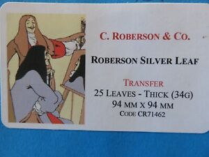 Silver Leaf Transfer - Thick (34g) 94 x 94mm 25 Leaves C. Roberson & Co