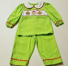 Girls REMEMBER NGUYEN Christmas smocked outfit 2T shirt pants ornaments lime set
