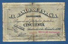 SANTANDER -- 50 PESETAS ( 1936 ) -- BC- // F-  -- SIN SERIE -- Nº : 009071 .