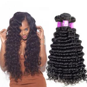 Deep Wave Brazilian Hair Weave Bundles Remy Hair Weaving Human Hair Extension 1B