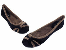 sami-27 Slip On Casual Party Flats Office Winter Warn Women's Shoes Black 7.5