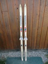 "GREAT OLD VINTAGE Wooden 62"" Snow Skis Has WHITE Finish and Bindings"