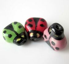 6Pcs Hand Painted Ceramics Porcelain Insect Beads Finding---Jewelry Accessory