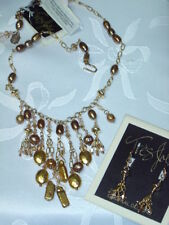 $346 Tres Jolie Pearl necklace & earrings set gold plated made for Nordstroms
