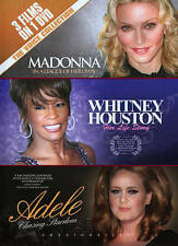 Madonna/ Whitney Houston/ Adele- The Voice Collection-3 Films On 1 DVD New