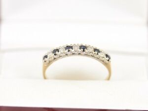 Diamond and Sapphire Ring 9ct Gold Ladies Size M 375 1.4g H32