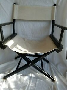 Vintage 1960s Telescope Folding Furniture Beige & Black Canvas Directors Chair
