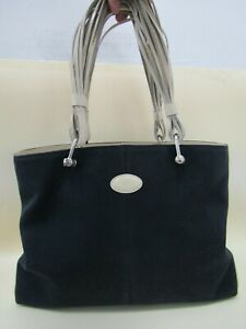 Tod's Women's Navy Blue Canvas Off White Leather Trim Tote Shoulder Bag