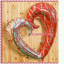 Heart Shape Foil Balloon approx 36 inches - Red and Silver  Valentines Day Gift!