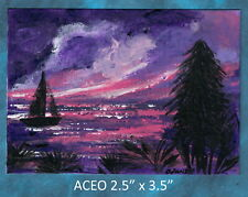 Original ACEO - Seascape at Sunset, Abstract - miniature acrylic painting