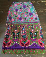 Vintage Skirt Hippie Boho Paisley Hawaii Purple Pink Gray Flowers
