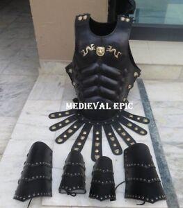 Greek Leather Muscle Armor Set W/ Leather Leg & Arm Guard Halloween Costume
