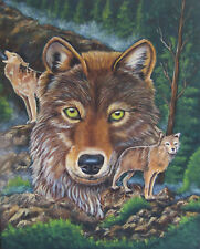 Wolf Trio acrylic painting reproduction print 8 x 10 on linen card stock