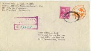 1951 APO 343 Japan Registered 25ct Prexie 6ct Air PSE - Ft Leavenworth