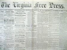 Rare original 1880 Charles Town WEST VIRGINIA newspaper JEFFERSON COUNTY WV