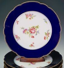 Wm. Guerin & Co Limoges France 8 Cobalt Blue Roses Dinner Plates