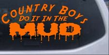 Country Boys Do It In the Mud Car or Truck Window Decal Sticker Orange 8X3.7