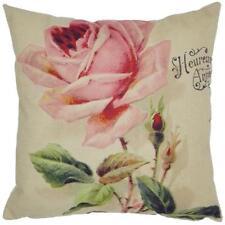 Vintage Colorful Flower Pattern Rose Tree Linen Burlap Cushion Cover Pillow Case