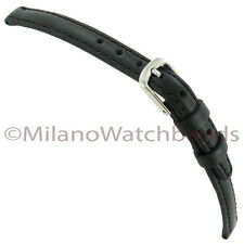 14mm Hadley Roma Black Oil Tanned Genuine Leather Stitched Ladies Watch Band 881