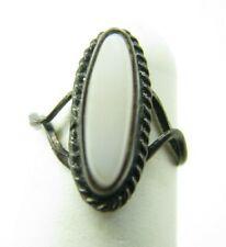 Vintage ELONGATED PINKY RING White Shell Stone HIPPIE BOHO Southwestern BYPASS 3