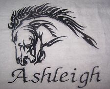 """PERSONALIZED EMBROIDERED FABULOUS HORSES HEAD OUTLINE BATH TOWEL"""