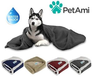 100%WATERPROOF Dog Blanket for Large Dog Pet Reversible Microfiber Fleece Sherpa