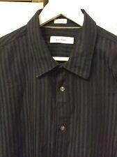 Mens CK CALVIN KLEIN Blue Black Stripe Shirt Cotton Double Cuff SizeXL Vgc