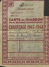 93 VILLEMOMBLE APRES GUERRE 39/45 CARTE DE CHARBON CHAUFFAGE 1947/48