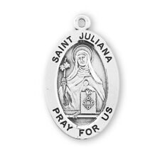 """Saint St Juliana - Sterling Silver 7/8"""" Oval Medal + 18"""" Chain - Boxed"""