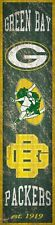 """Green Bay Packers Heritage Banner Retro Logo Wood Sign New 6 x 24"""" Wall Est 1919"""