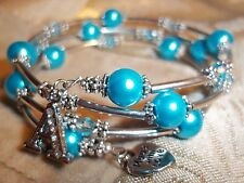 Hand Crafted BLUE Pearl & Crystal Bead ADJUSTABLE Coil CHARM Wrap Bracelet D-03
