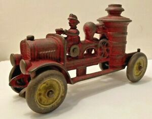 Antique 1920's Kenton Toys Cast Iron Fire Truck U.S.A. All Original+As Found!