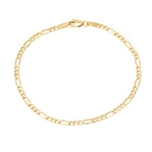 """10K Yellow Gold 2.5mm Figaro 3+1 Link Chain Anklet -10"""" inch -Made In Italy"""