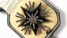Cut Steel Starburst Brooch Antique Georgian French Jet &