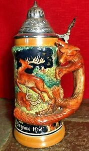 """Antique 9 1/2"""" German Beer Stein...Hunting Fox - Signed 'Germany' EXC CONDITION!"""