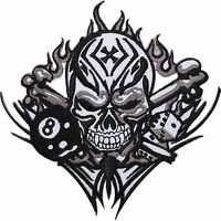 Skull Dice 8 Ball Cross Embroidered Iron / Sew On Patch Motorbike Jacket Badge
