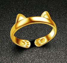 GOLDEN Cat Kitten EARS and PAWS Adjustable Open End Ring ~ USA SELLER