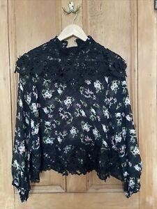 Zara Premium Collection Black Flowered Lace Blouse Women's XS
