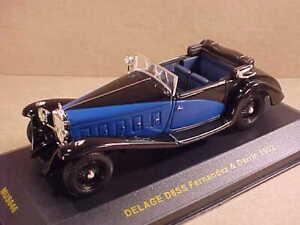 IXO MUSEUM COLL. #MUS046 1/43 1932 Delage D8SS Fernandez & Darrin, Black & Blue